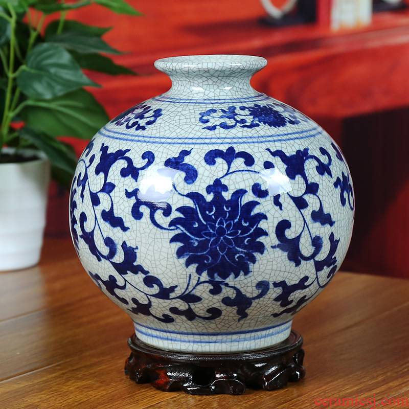 Jingdezhen ceramics in the vase to open the slice archaize of blue and white vase contracted furnishing articles of modern home sitting room adornment