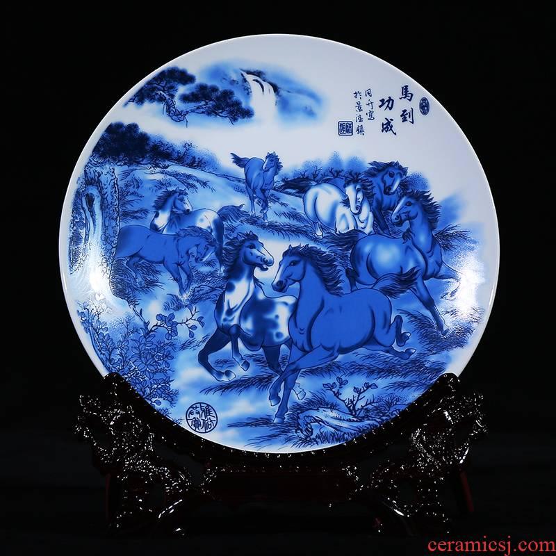 Blue and white porcelain of jingdezhen ceramics decoration decoration plate sat dish dish modern fashionable sitting room handicraft furnishing articles