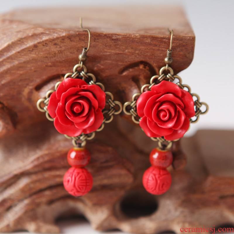 QingGe what checking ceramic first act the role ofing is tasted national wind restoring ancient ways earrings eardrop female female street source of roses