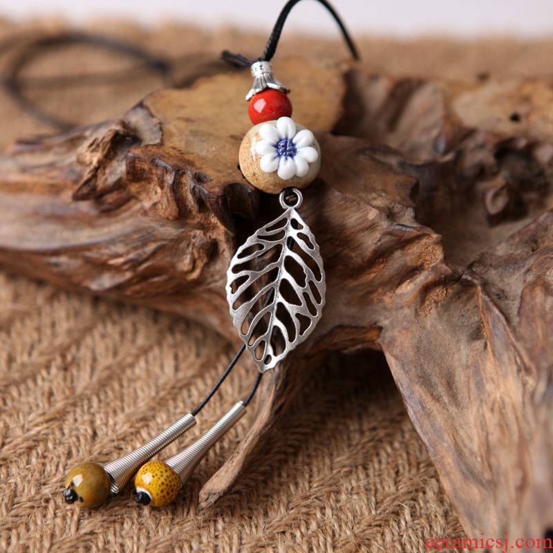 QingGe small girl with pure and fresh and long joker ceramic sweater chain jewelry national wind hang porcelain street source