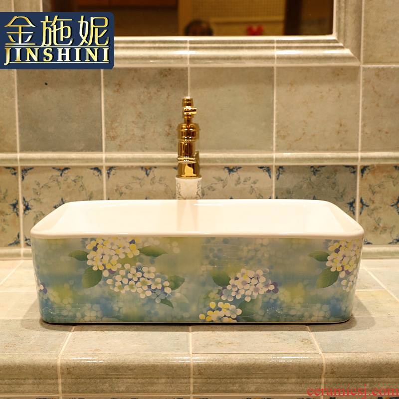 Gold cellnique lavatory blue color art ceramic basin bathroom square sink of the basin that wash a face on stage