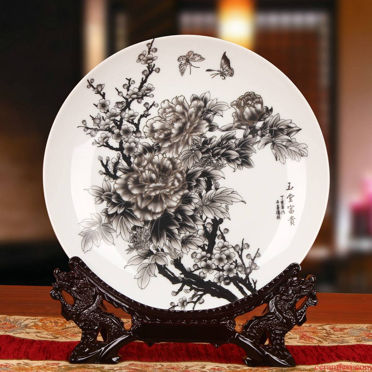 Jingdezhen chinaware paint peony 18 f your CV faceplate hang dish plate decoration crafts are set