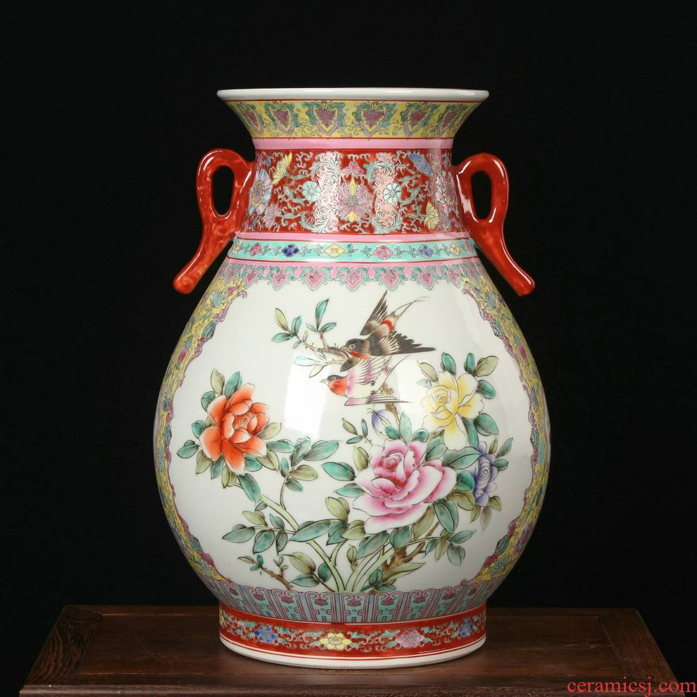 Jingdezhen ceramics powder enamel factory goods f barrels vase was Chinese style classical Ming and the qing dynasties home decoration furnishing articles