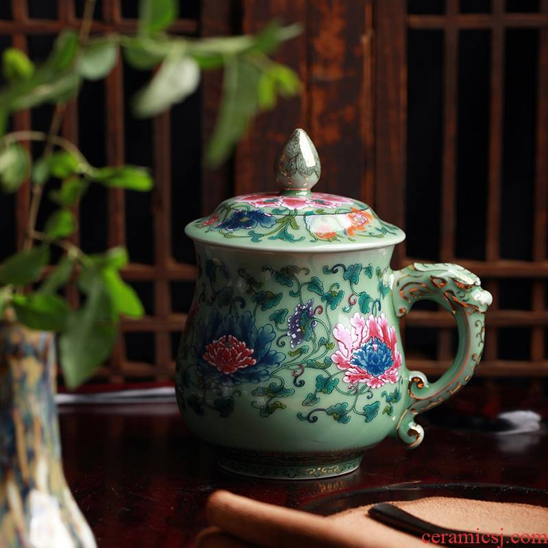 Red xin celadon coloured drawing or pattern with cover cup cup cup longfeng couples lovers cup sample tea cup business