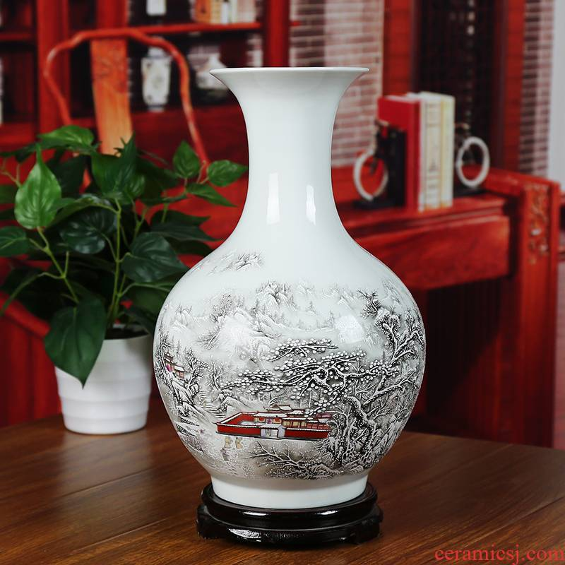 Jingdezhen ceramics powder enamel snow vase study of I household adornment furnishing articles contracted sitting room a wedding gift