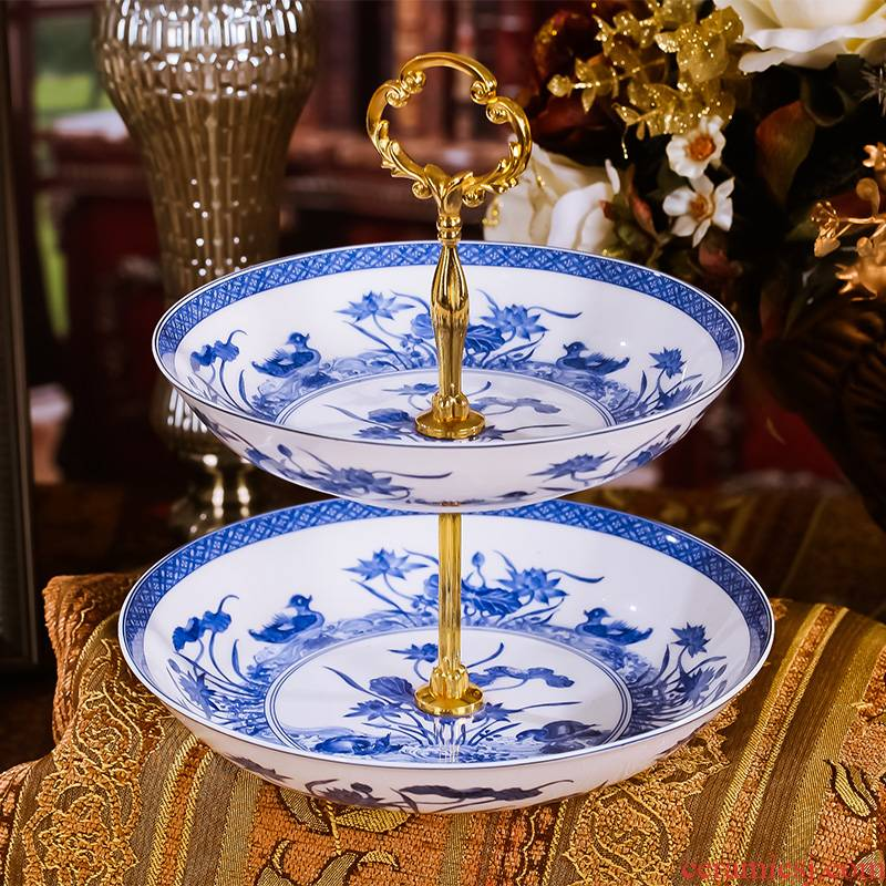 Red xin European ceramic tableware fruit bowl ikea fashion creative double cake dessert plate