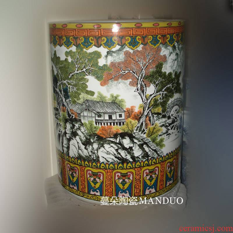 Jingdezhen hand - made color porcelain I quiver straight landscape under the glaze colorful color painting and calligraphy quiver cylinder