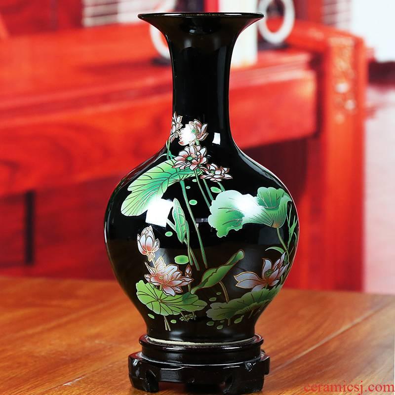 Jingdezhen ceramic vase sharply glaze lotus home sitting room adornment creative I and contracted handicraft furnishing articles