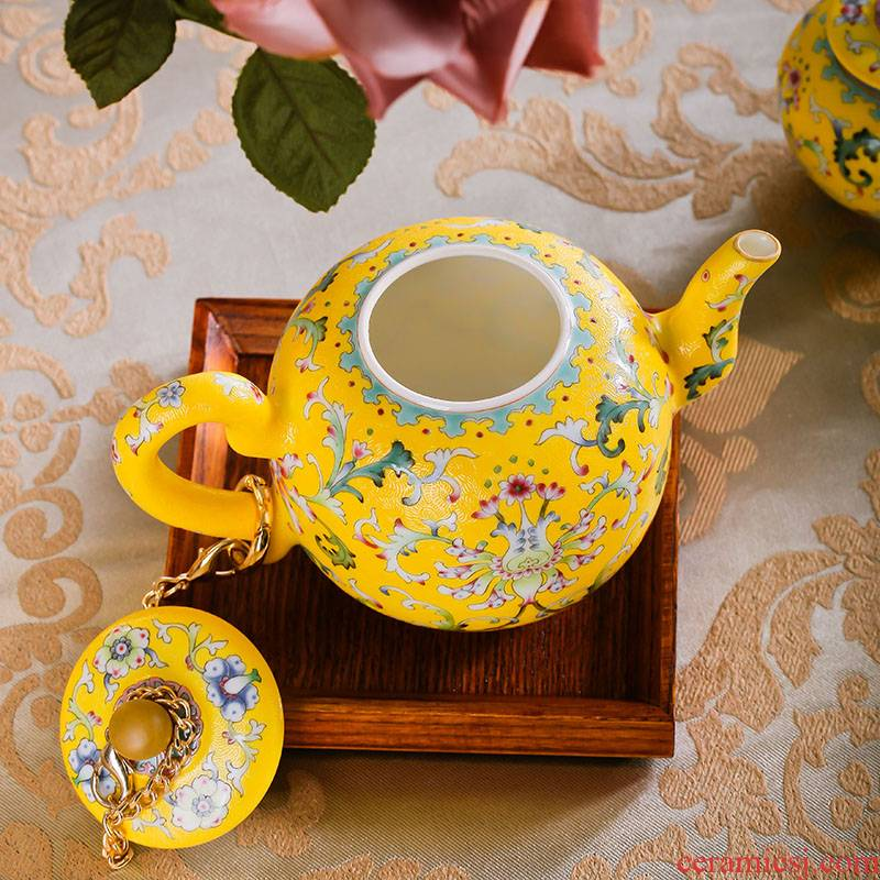 Red xin jingdezhen hand carved flowers/climbing flower/rolling way famille rose tea, collect 8 head palace imperial porcelain tea set