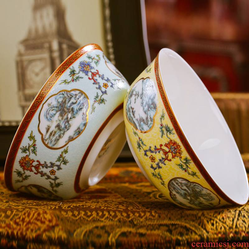 Red xin jingdezhen high - grade ipads China tableware rainbow such use archaize color enamel pastel rainbow such as bowl 6 inches
