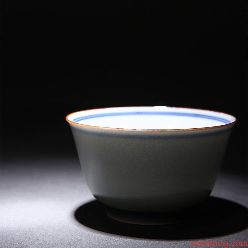 Red xin jade porcelain glaze teacup single cup sample tea cup blue cup kung fu tea cups of jingdezhen tea service