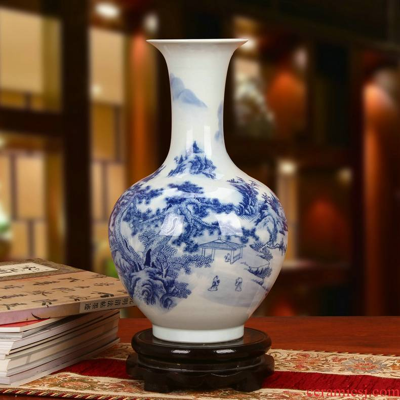 Jingdezhen ceramics classical landscape of modern Chinese style household crafts are blue and white porcelain vase decoration