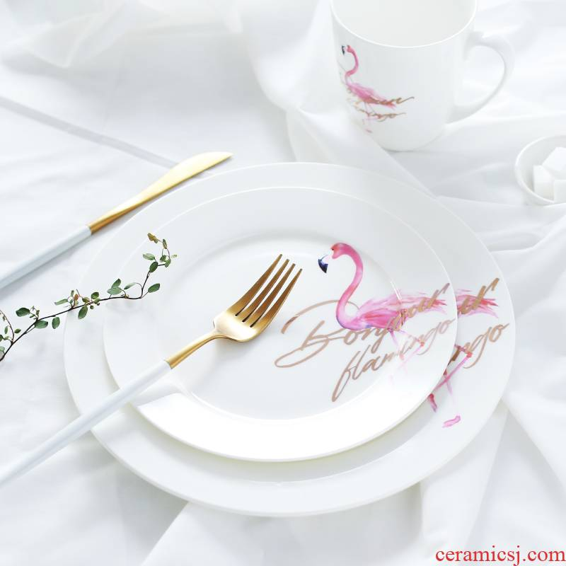 The Food dish household steak western flamingos eat dish creative move round plate ceramic plate fruit tray