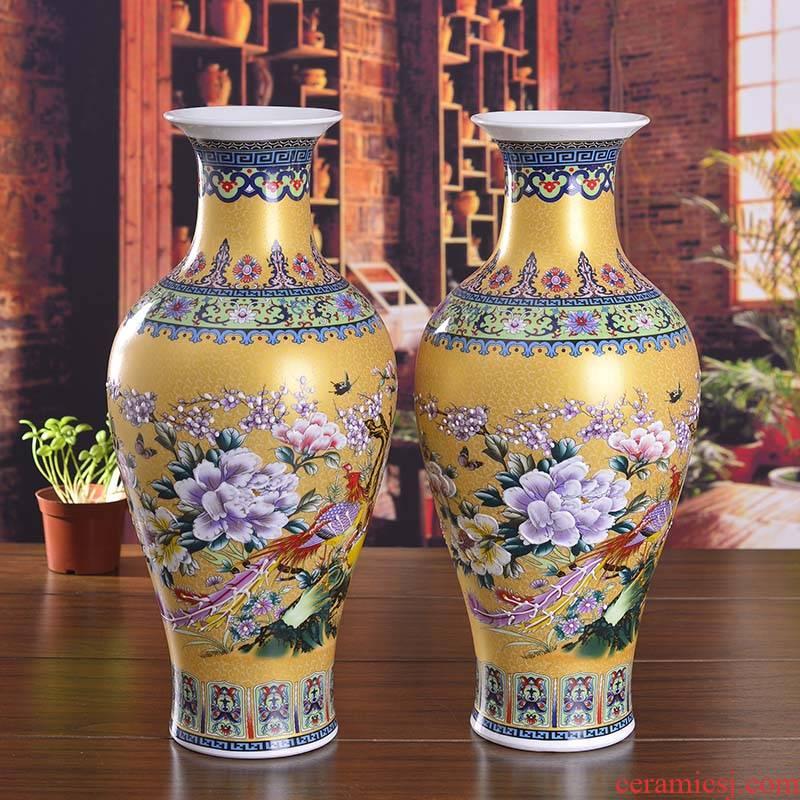 Jingdezhen ceramics enamel sitting room place I and contracted household adornment enamel vase wedding gift