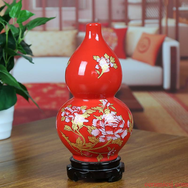 Jingdezhen ceramic vases, Chinese red modern home sitting room place gold peony gourd bottle housewarming gift