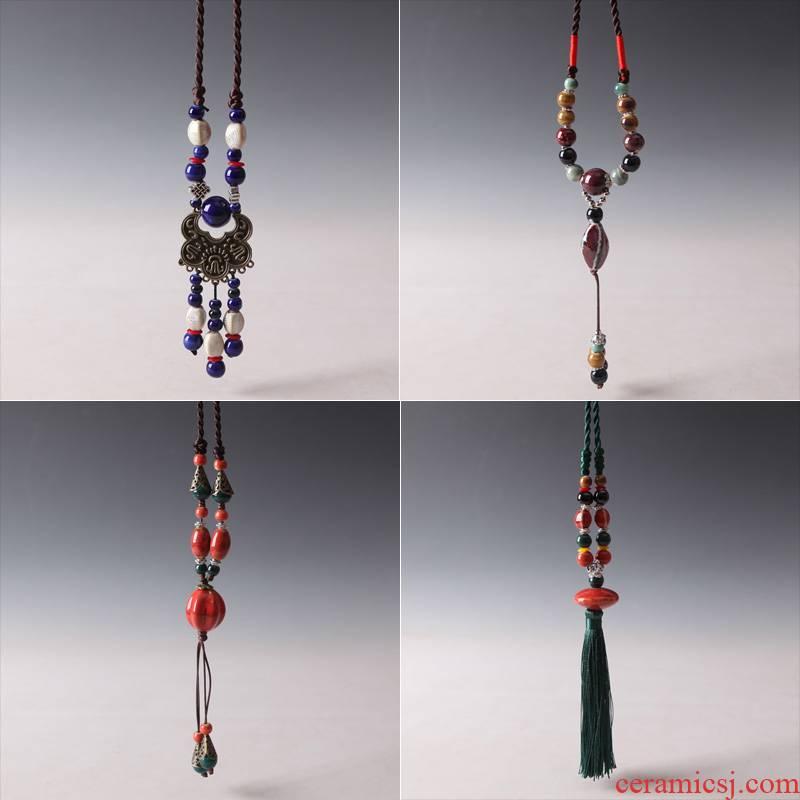 The Original manual QingGe jingdezhen ceramic sweater chain long street source of national wind restoring ancient ways necklace getting joker