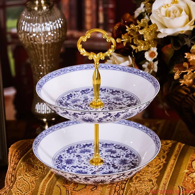 Ou hong xin 】 【 ceramic tableware double disc fruit bowl creative multi - layer plate dried fruit basin