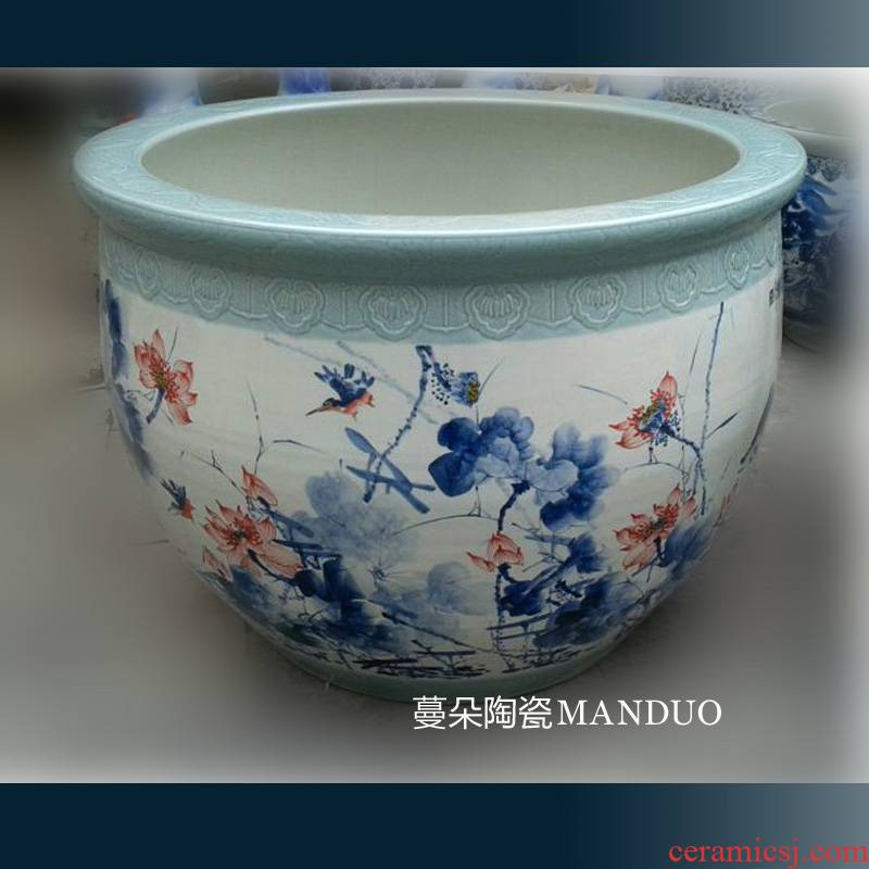 Jingdezhen hand - made of 90-120-150-200 cm diameter hand - made big fish tank hand - made of blue and white porcelain cylinder