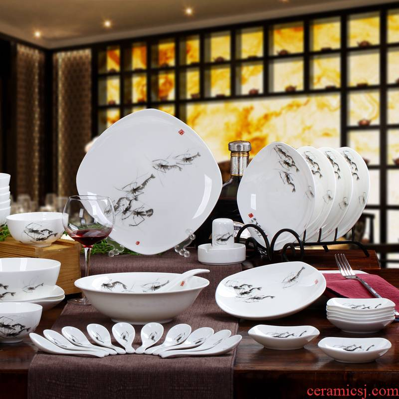56 the head of jingdezhen ceramic tableware suit to use dishes Chinese porcelain tableware ceramic bowl classical dishes