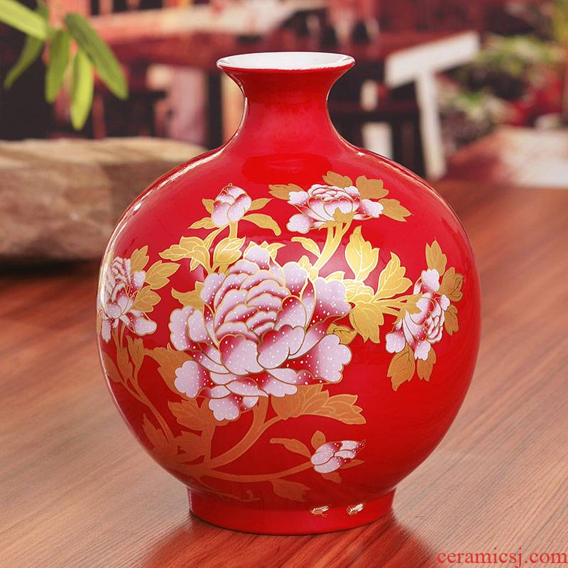 Jingdezhen ceramics China red vase modern household act the role ofing is tasted furnishing articles wedding housewarming gift pomegranate bottle sitting room