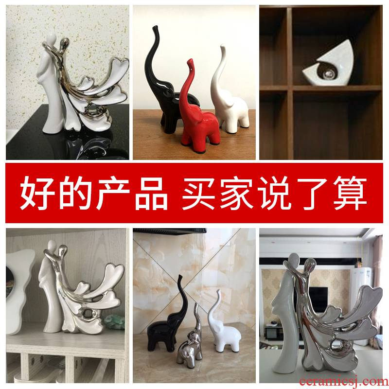 European ceramics elephant furnishing articles a family of three creative jingdezhen contracted and I household act the role ofing is tasted small arts and crafts