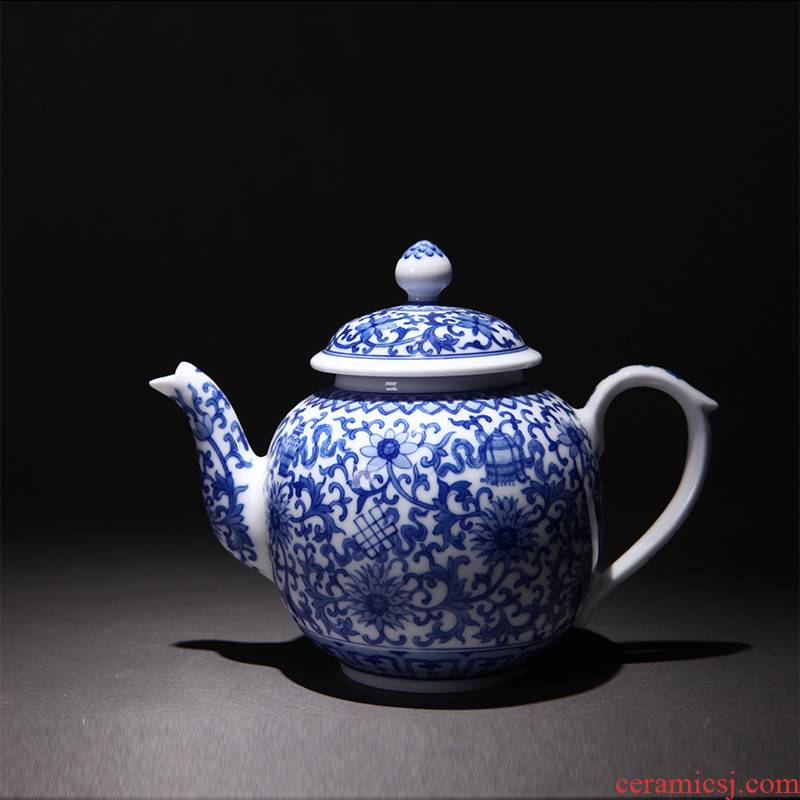 Xin kettle of jingdezhen blue and white teapot hand - made ceramic all hand violet teapot kung fu tea pot