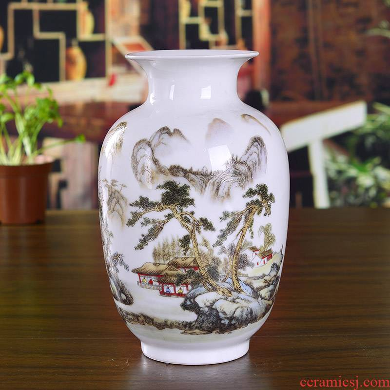 Jingdezhen ceramics famille rose porcelain vase landscape painting of flowers and household decoration in modern jewelry crafts are sitting room