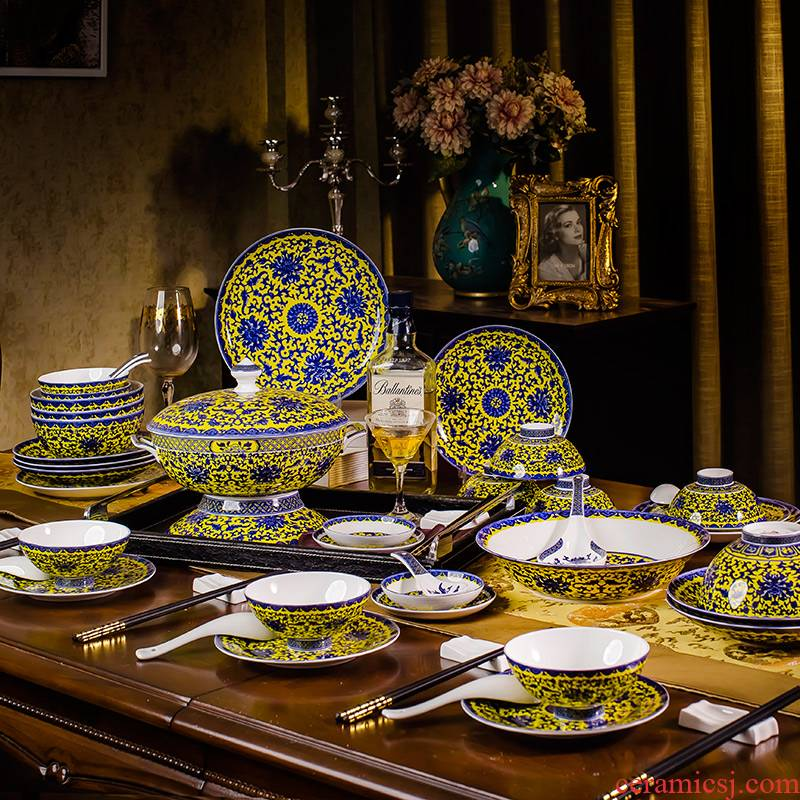 Jingdezhen blue and white porcelain dish suits for under the glaze color dishes household of Chinese style ceramic tableware with microwave