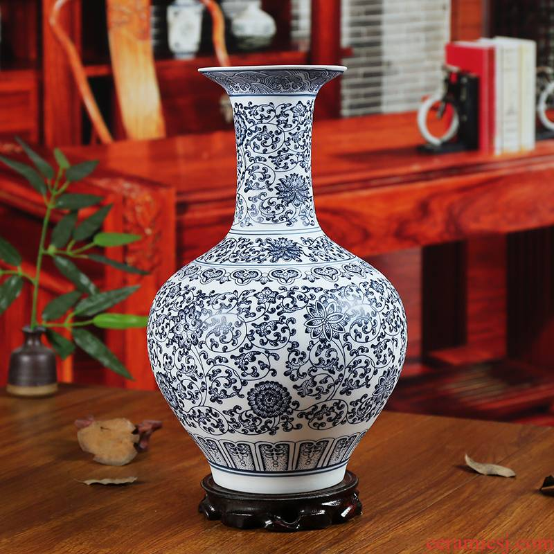 Classical jingdezhen ceramics insert blue and white vase inferior smooth glaze the modern study of home sitting room adornment furnishing articles