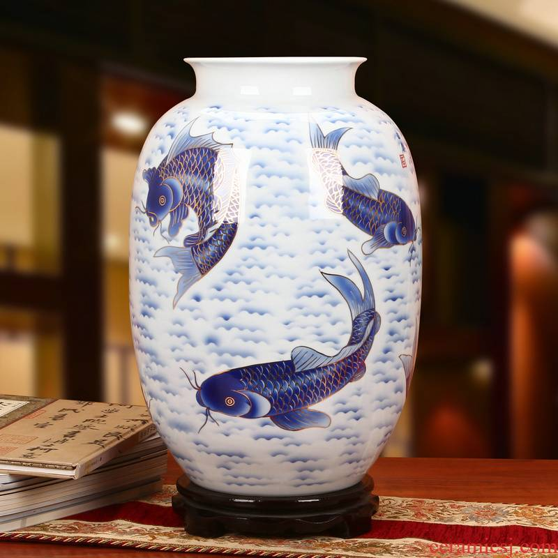 The see colour blue and white porcelain of jingdezhen ceramics high - grade hand - made years more Chinese style household decorative vase furnishing articles
