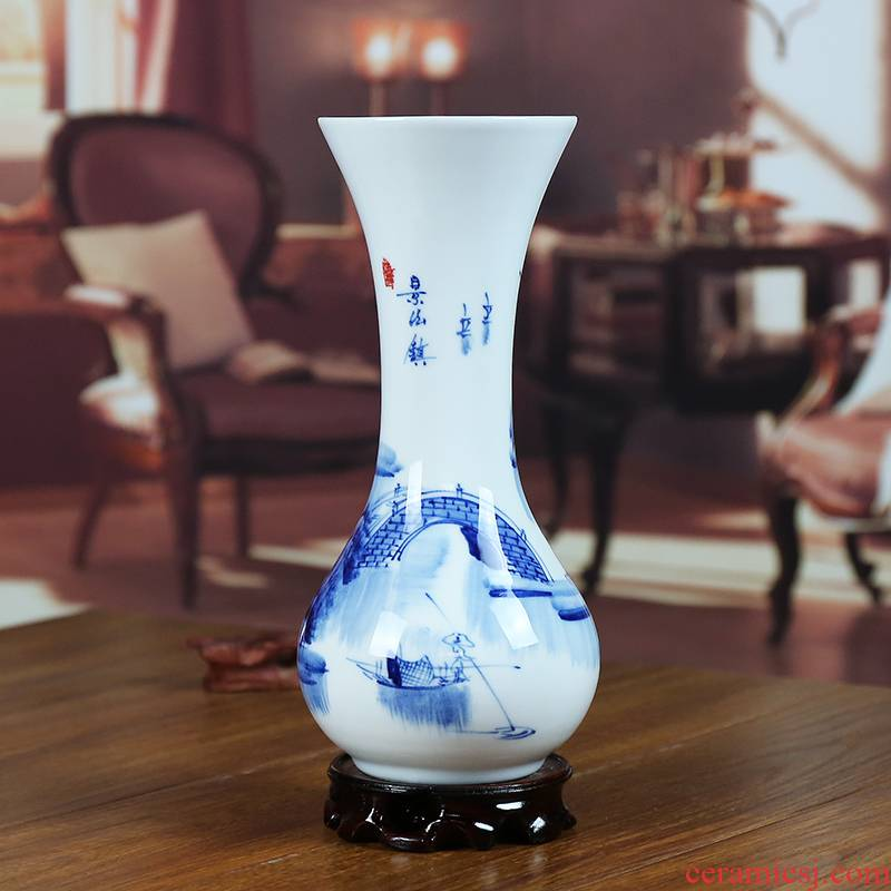Jingdezhen blue and white porcelain ceramic vase hand - made of modern home sitting room flowers handicraft furnishing articles present