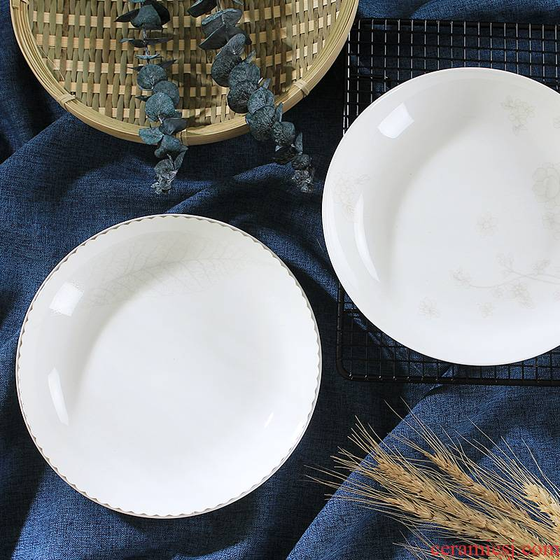 Household jingdezhen ceramic Chinese simple dishes new plate 8 inches FanPan steak plate plate