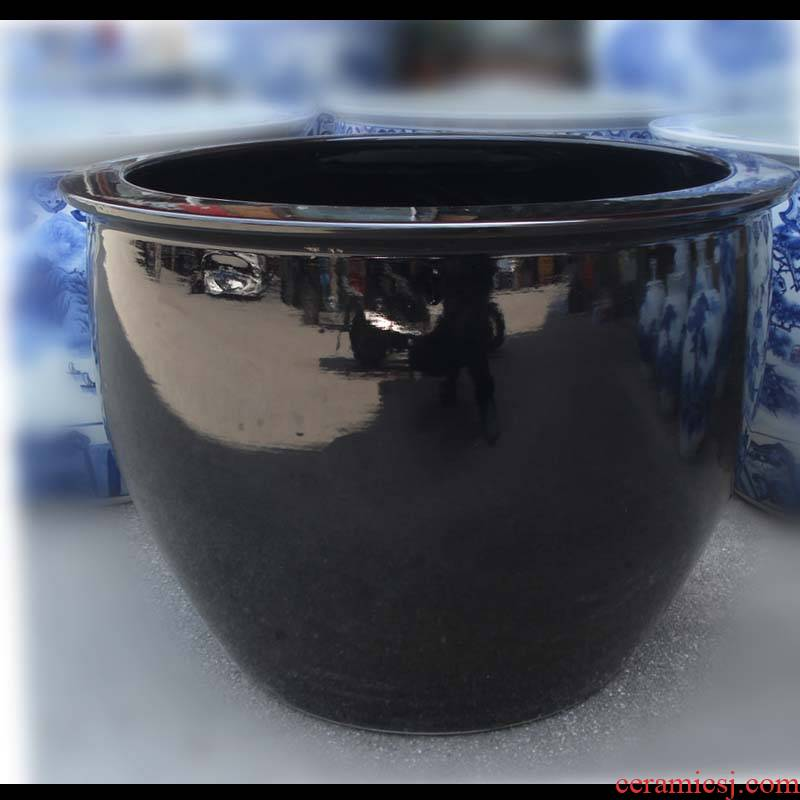 Jingdezhen sharply glaze porcelain Jingdezhen full VAT black porcelain 800 thousand of them big pure color cylinder