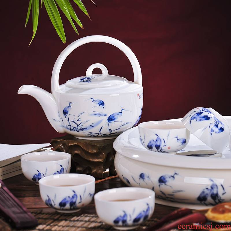Jingdezhen ceramics from red xin 8 head double tea set with cover cup egrets the teapot