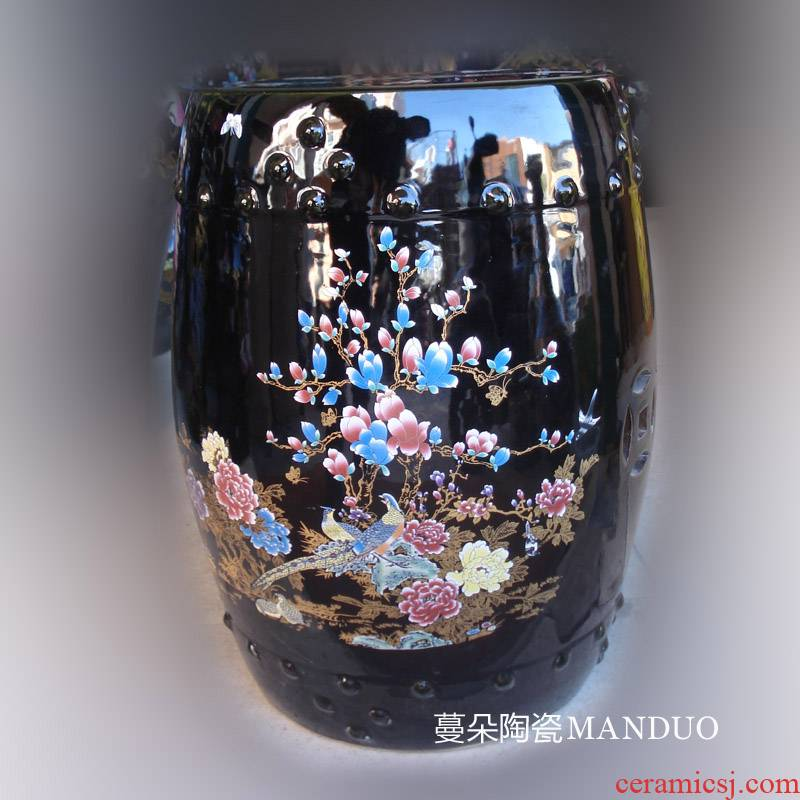 Jingdezhen black flower ceramic stools classical ancient porcelain who ancient sweet patina balcony who