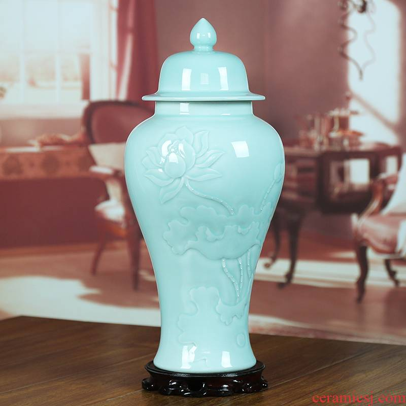 Jingdezhen ceramics shadow celadon sealed tank storage tank caddy fixings the general pot of modern household vase furnishing articles