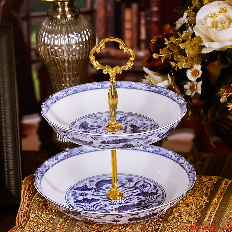 Red xin jingdezhen ceramic fruit bowl high - grade English afternoon tea sugar disc ceramic tableware snack plate