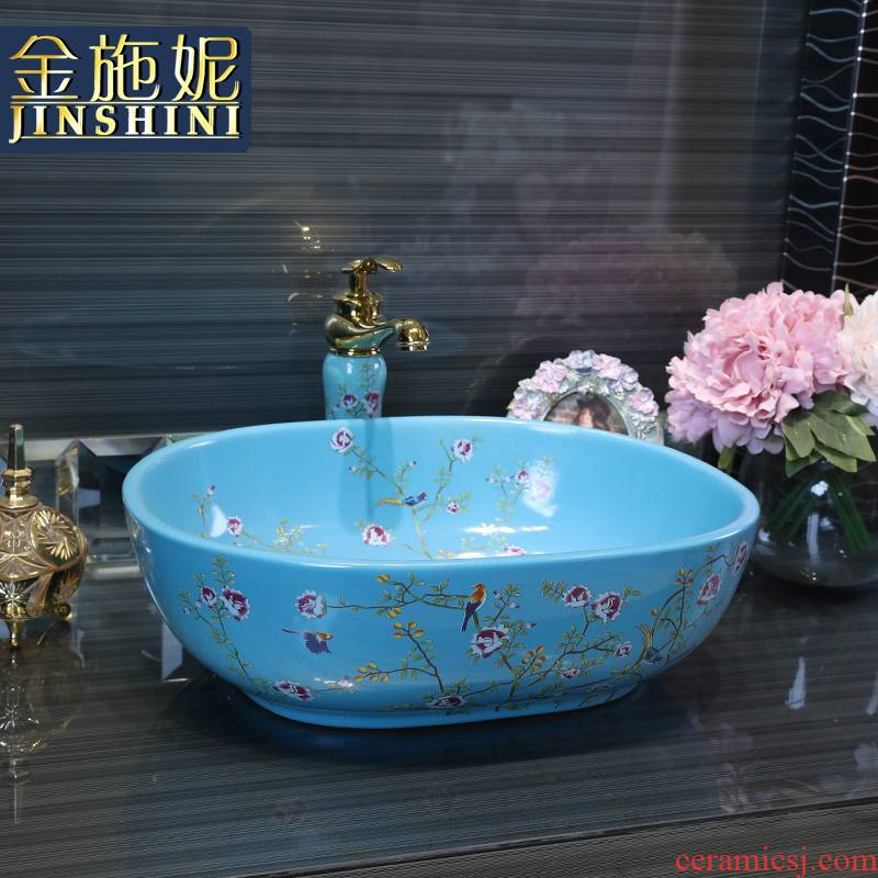 Gold cellnique colored flower stage basin ceramic lavatory oval blue wash basin sink fashion