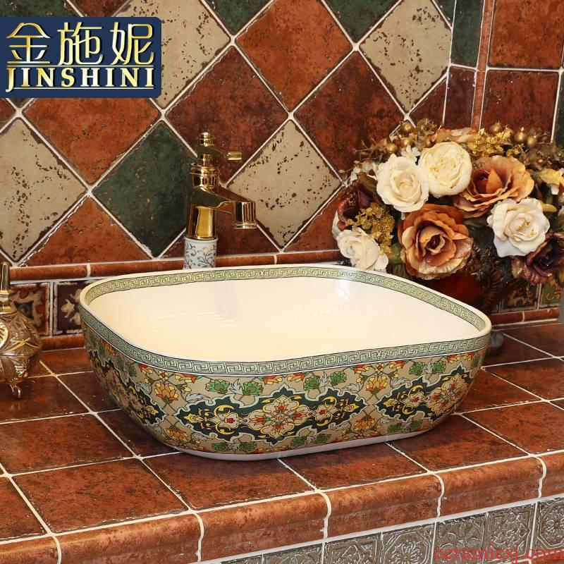 Gold cellnique European art stage basin ceramic lavabo retro lavatory bathroom sink