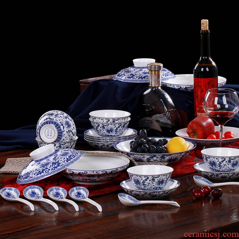 Chinese tableware suit dishes ipads bowls disc sets jingdezhen blue and white porcelain and the head of household ceramic plate