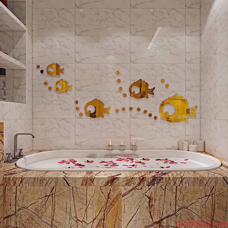 Fish waterproof bathroom tile stickers paper 3 d cartoon express it in sitting room metope of children room decorate yakeli
