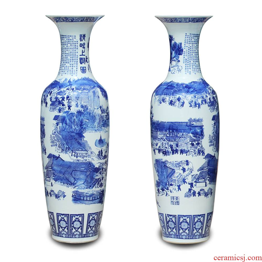 Jingdezhen blue and white ceramics qingming scroll of large vases, Chinese style hotel lobby sitting room adornment