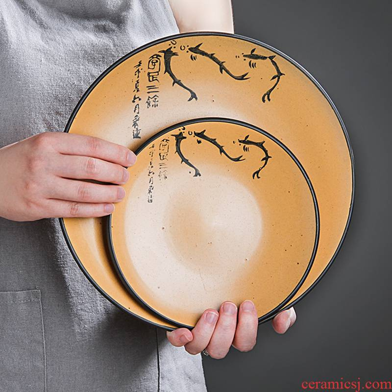 Jingdezhen ceramic plate household food dish creative move big flat circular plate tray is Japanese dishes