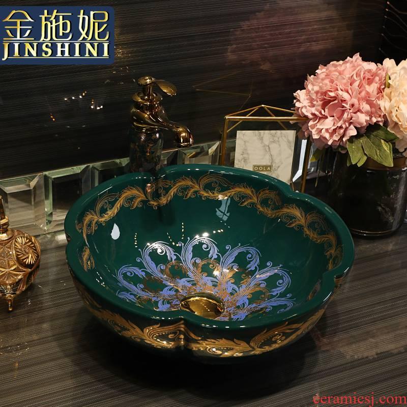 Gold cellnique jingdezhen ceramics stage basin lavatory toilet lavabo European jinfeng scales of the basin that wash a face