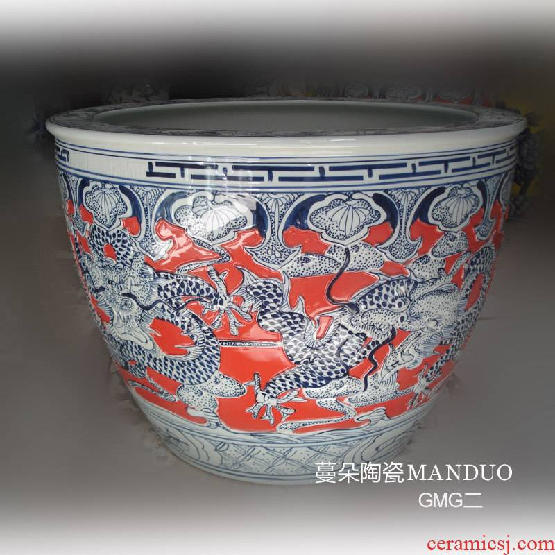 The bottom of The red dragon of jingdezhen porcelain wulong VAT relief porcelain VAT 50-70 porcelain painting cylinder diameter
