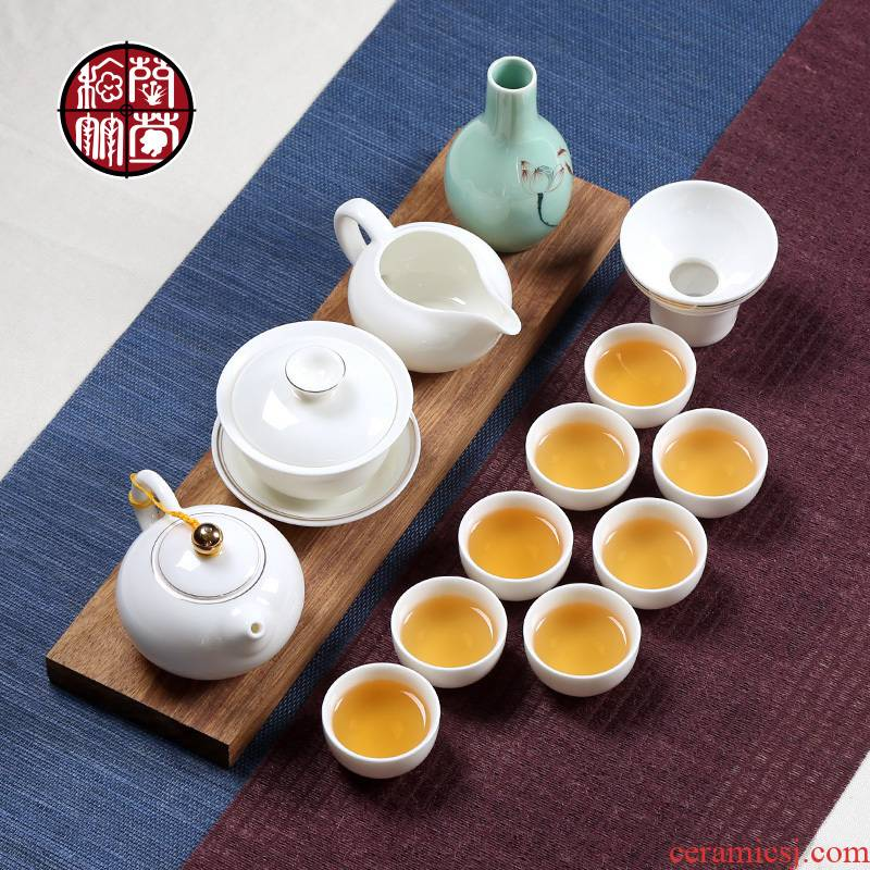 Dehua white porcelain ceramic whole household utensils with simple lid bowl of creative time wine drinking tea tea