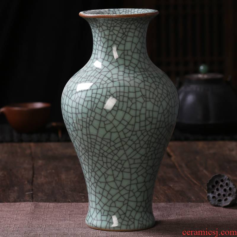 Archaize of jingdezhen ceramics up green glaze open piece of crack vases, flower arranging Chinese classical sitting room adornment is placed
