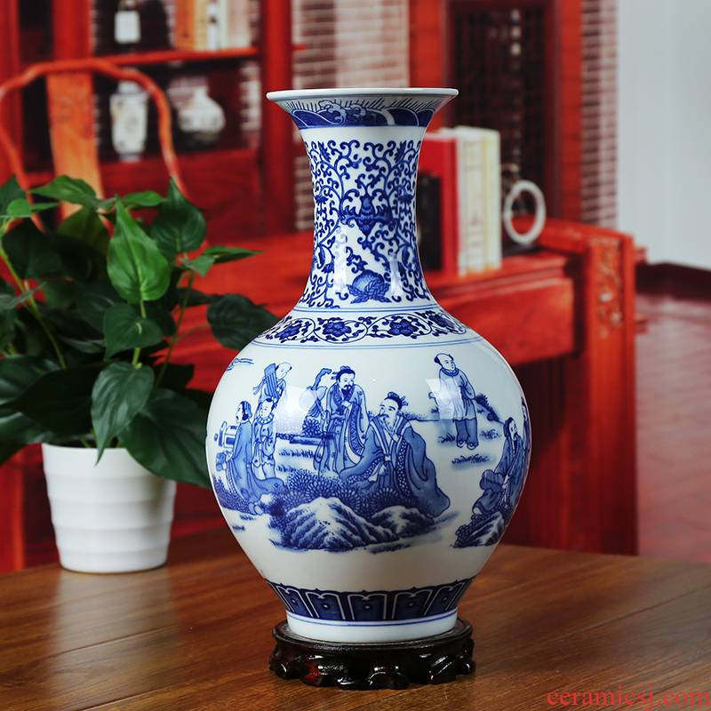 Blue and white porcelain of jingdezhen ceramic vase character of modern home living room nine old SiShao furnishing articles of classical arts and crafts