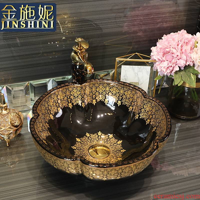Gold cellnique European stage basin of jingdezhen ceramic lavabo black Jin Wen contracted the lavatory toilet