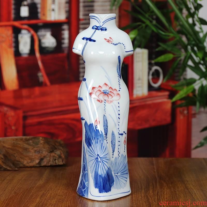 Jingdezhen ceramic vase modern blue and white porcelain dou color lotus home sitting room place cheongsam handicraft gifts